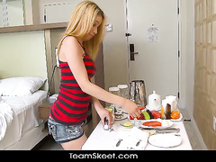 Blonde in striped top plunges into crazy fuck