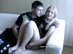 Beauty blonde in fluffy skirt Samantha got kissed and fingered