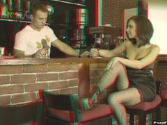 Luxurious brunette Masha seduces handsome barman and fucks him hard