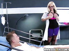 Slutty blonde nurse wearing hot stockings fucks big dick patient in hospital